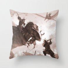 T. rex vs Samurai Throw Pillow