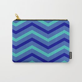 Blue Stripe Chevrons Carry-All Pouch