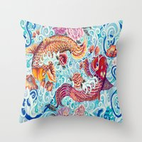 koi fish Throw Pillows featuring Koi Fish by Art by Risa Oram