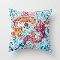 koi fish Throw Pillows featuring Koi Fish by Art by Risa Oram