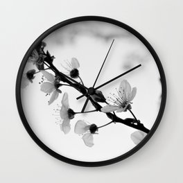Black And White Blossoms Wall Clock