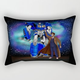 10th Doctor who with Giant retro Robot Rectangular Pillow