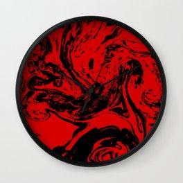 Red & Black liquid ink Wall Clock