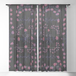 native rose garden Sheer Curtain