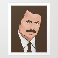 ron swanson Art Prints featuring Ron Swanson by CheekyMonkeyArt