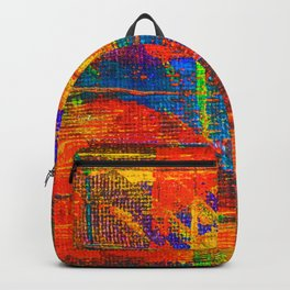 Abstract Tartan Design Painting - Acrylic Paint on Canvas Backpack