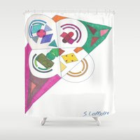 anxiety Shower Curtains featuring Anxiety Flag by SaraLaMotheArt