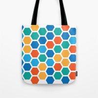 hexagon Tote Bags featuring Hexagon by Danielle Arrington