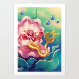 Mermaid in Large Clamshell Art Print