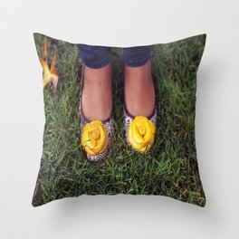 Yellow Flower Shoe! Throw Pillow