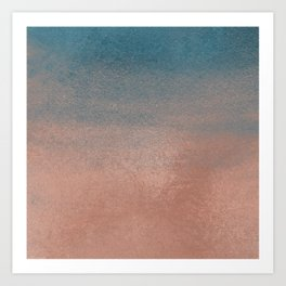 Abstract peacock blue coral ombre watercolor Art Print