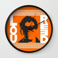 lou reed Wall Clocks featuring Lou Reed by Silvio Ledbetter