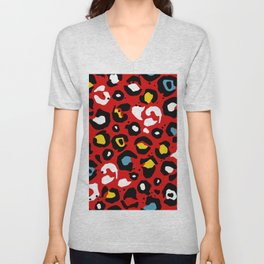 Red Multi Leopard Print Unisex V-Neck