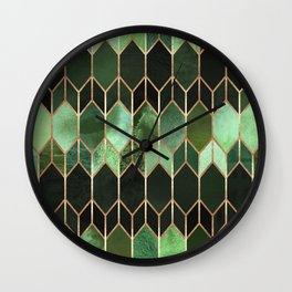 Stained Glass 5 - Forest Green Wall Clock