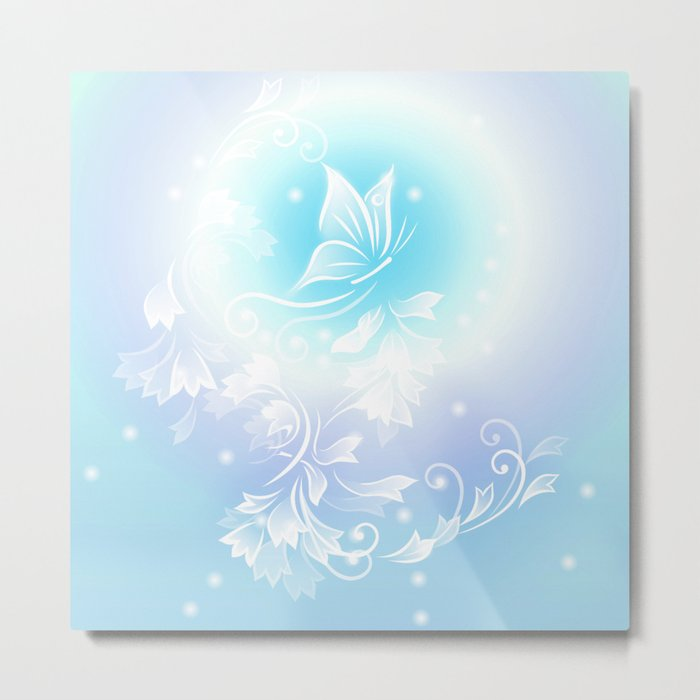 Floral Turquoise Butterfly Fantasy Metal Print