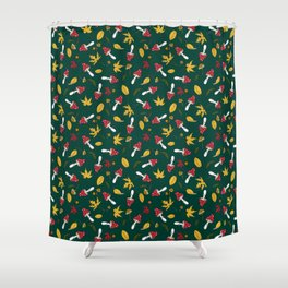 fly agaric and autumn leaves Shower Curtain