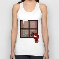 cabin Tank Tops featuring Holiday Cabin by Cecily Cloud