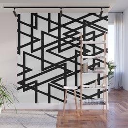 Interlocking Black Triangles Artistic Design Wall Mural