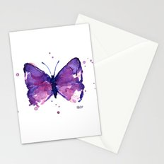 Butterfly Purple Watercolor Animal Stationery Cards