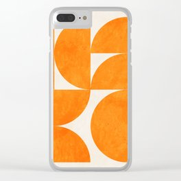 Geometric Shapes orange mid century Clear iPhone Case
