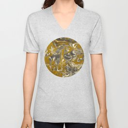 Brown and grey Marble texture acrylic Liquid paint art Unisex V-Neck