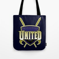 quidditch Tote Bags featuring Quidditch Teams of the World: Puddlemere United by Rockabirdie