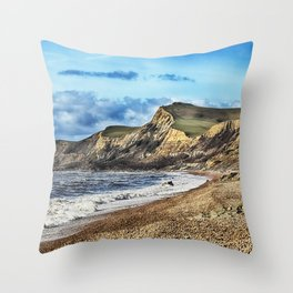 Coastline Cliffs Throw Pillow