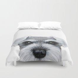 Schnauzer Grey&white, Dog illustration original painting print Duvet Cover