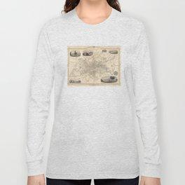 Vintage Map of Glasgow Scotland (1851) Long Sleeve T-shirt