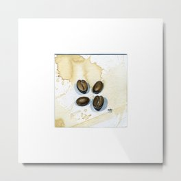 Four Coffee Beans Watercolor on Coffee-Stained Paper Metal Print