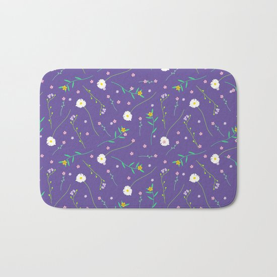 Simple flowers and purple Bath Mat