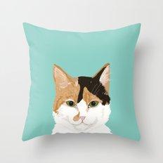 Calico Cat - Cute cat black, white, tan, orange tabby cat, cute kitten Throw Pillow