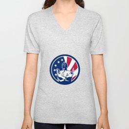 American Barber USA Flag Icon Unisex V-Neck