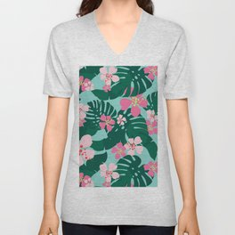 Hawaiian Tropical Palm Leaves + Hibiscus Floral Unisex V-Neck