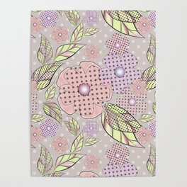 Flowers in polka dots. Poster