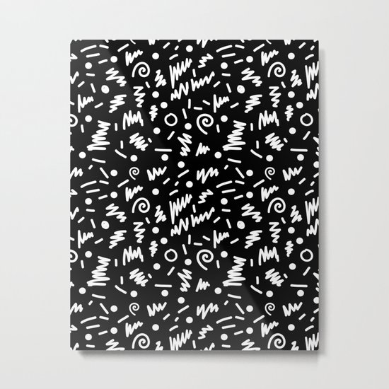 Memphis Night - black and white retro throwback 80's inspired pattern design Metal Print