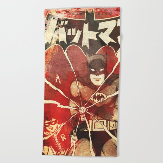 Bat Man (Manga) Beach Towel
