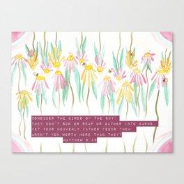 Floral Bible Verse Watercolor Art Canvas Print