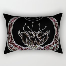 Moon Flower at Midnight in Black and Color Rectangular Pillow