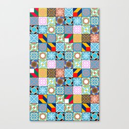Mixed Arabic Tiles Pattern - Oriental Canvas Print