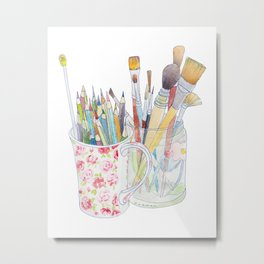 Art Tools: pencils and brushes (ink & watercolour) Metal Print