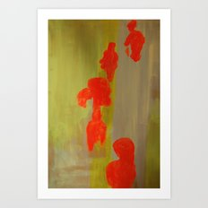 Orange Figurines on Yellow.  Art Print