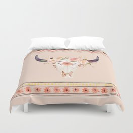 Bull Head Skull Boho Flowers Duvet Cover