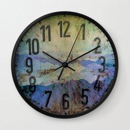 Clock face - Smoky Mountains Grunge Turqouise Blue Option Wall Clock