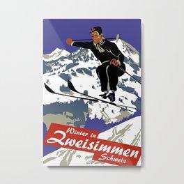 Winter in Zweisimmen Schweiz Metal Print