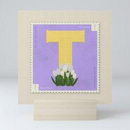 Sellos Naturales. Letter T. Flower: Tulip Mini Art Print