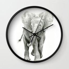 Baby Elephant Watercolor Wall Clock