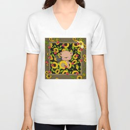 Rustic Sunflowers Bear And Black Crow Ladybugs Unisex V-Neck