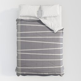 Mid century modern textured gray stripes Comforters