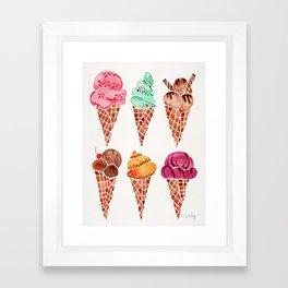 Ice Cream Cones – Rainbow Palette Framed Art Print